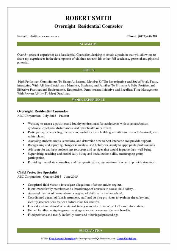 residential counselor resume samples qwikresume pdf qualification table organizational Resume Residential Counselor Resume