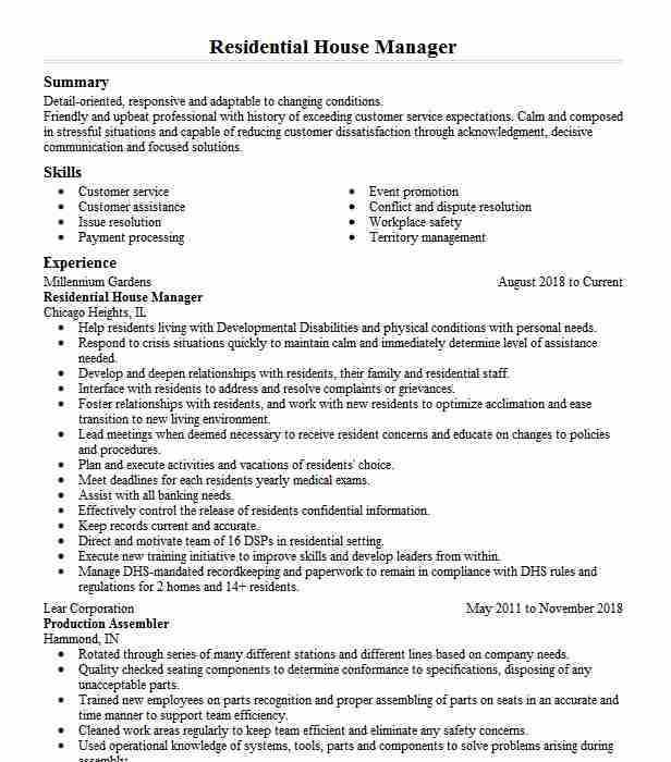 residential house manager resume example eichler residence tampa private estate company Resume Private Estate Manager Resume