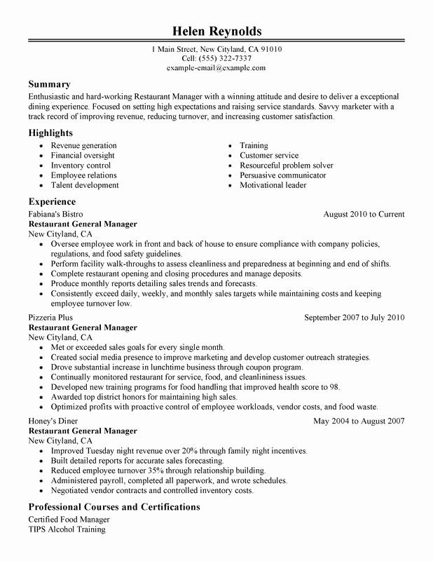 restaurant general manager resumes awesome resume examples created by pros in good job Resume Restaurant Manager Job Description Resume
