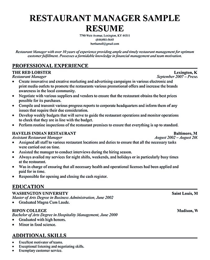 restaurant manager resume ease anyone is seeking for job related to managing ma Resume Restaurant Manager Job Description Resume