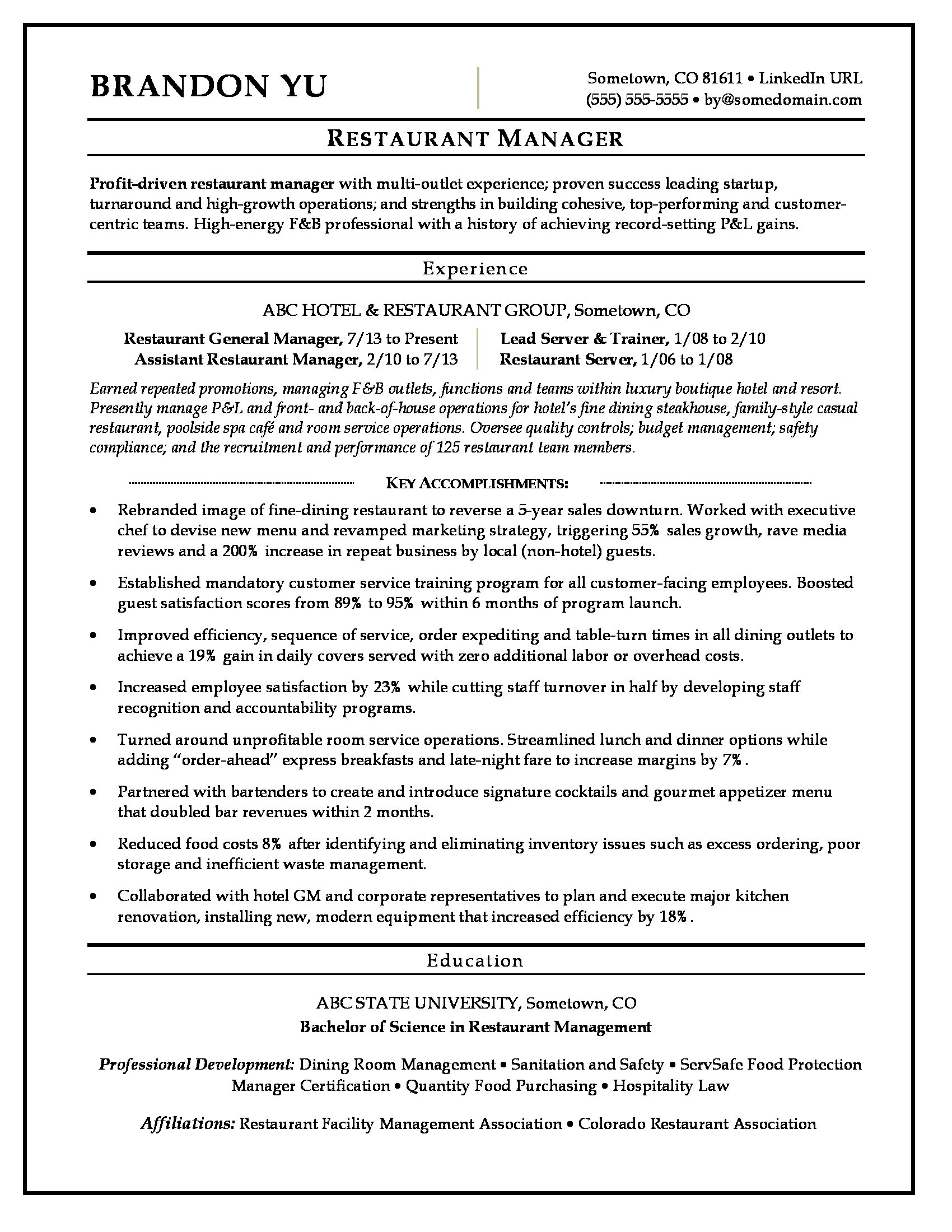 restaurant manager resume sample monster special accomplishments on marketing summary Resume Special Accomplishments On Resume