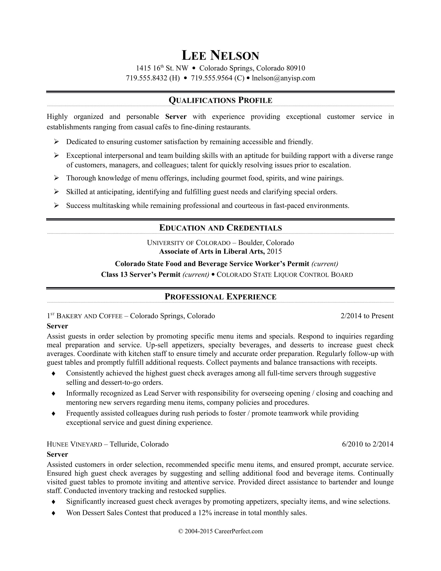 restaurant server resume sample monster customer service bullet points retail shift Resume Customer Service Resume Bullet Points