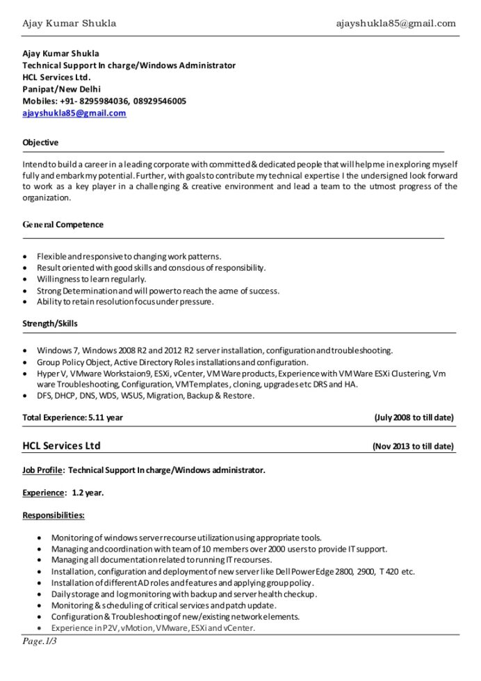 resume ajay shukla windows server vmware admin and samples resumeajayshukla conversion Resume Vmware And Windows Admin Resume Samples
