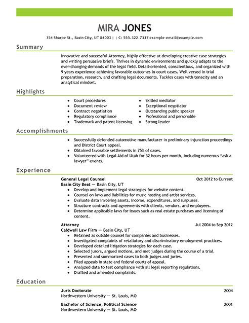 resume builder sample examples templates lawyer attorney good federal best legal training Resume Best Legal Resume Templates
