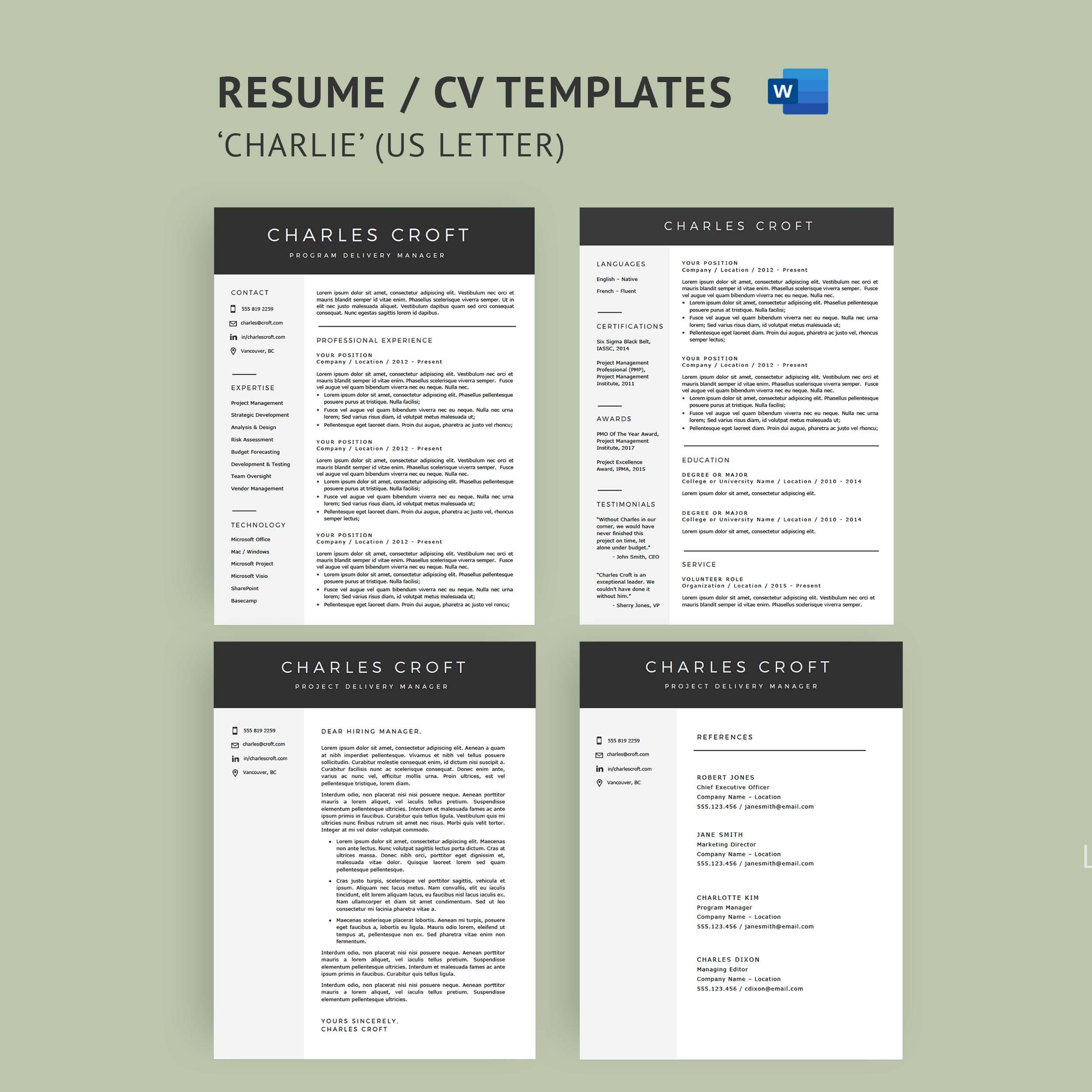 resume cv template package for microsoft word the charlie to write that get you interview Resume Ceo Resume Template Word Free