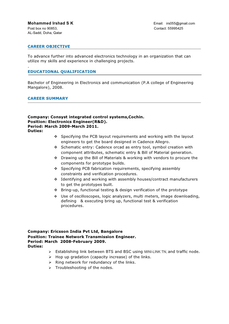 resume electronics engineer 3years experience sample for years operations manager Resume Sample Resume For 3 Years Experience