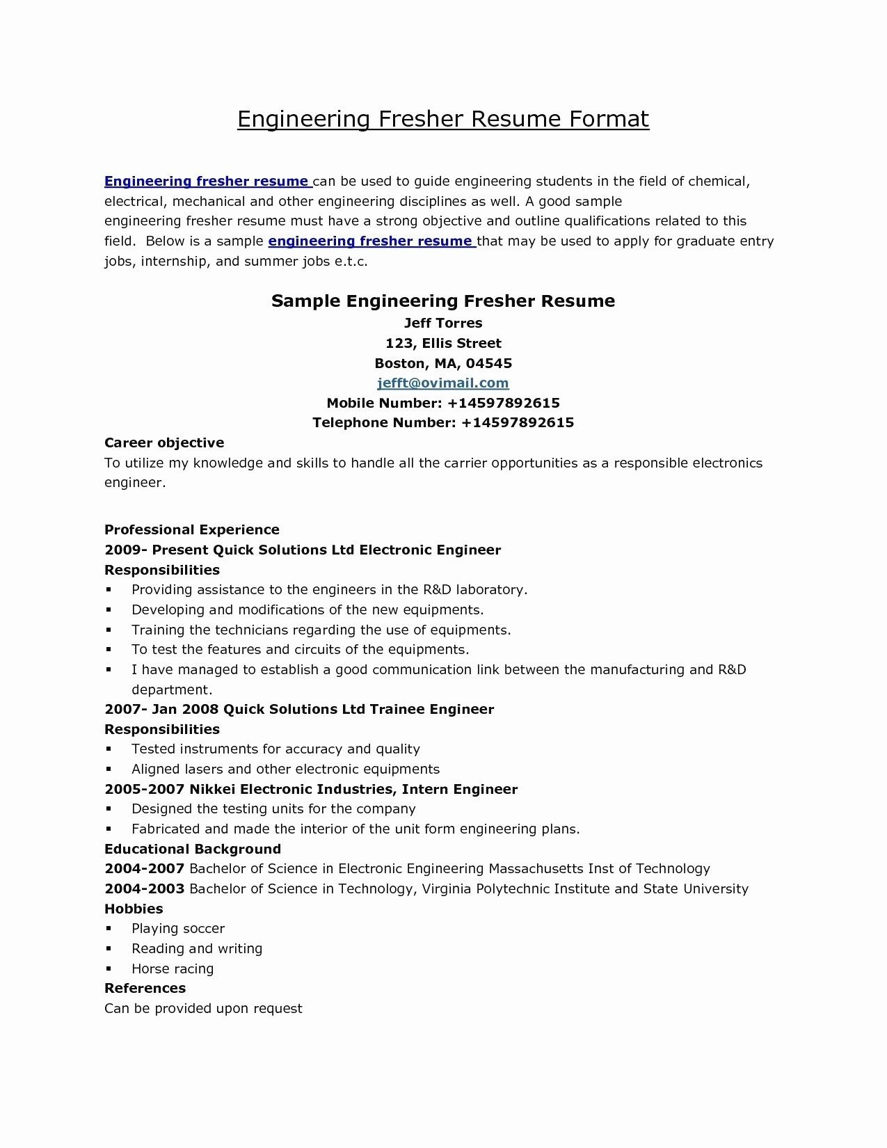 resume elegant collection of engineering examples uncategorized extraordinary format Resume Career Objective For Electronics Engineer Resume