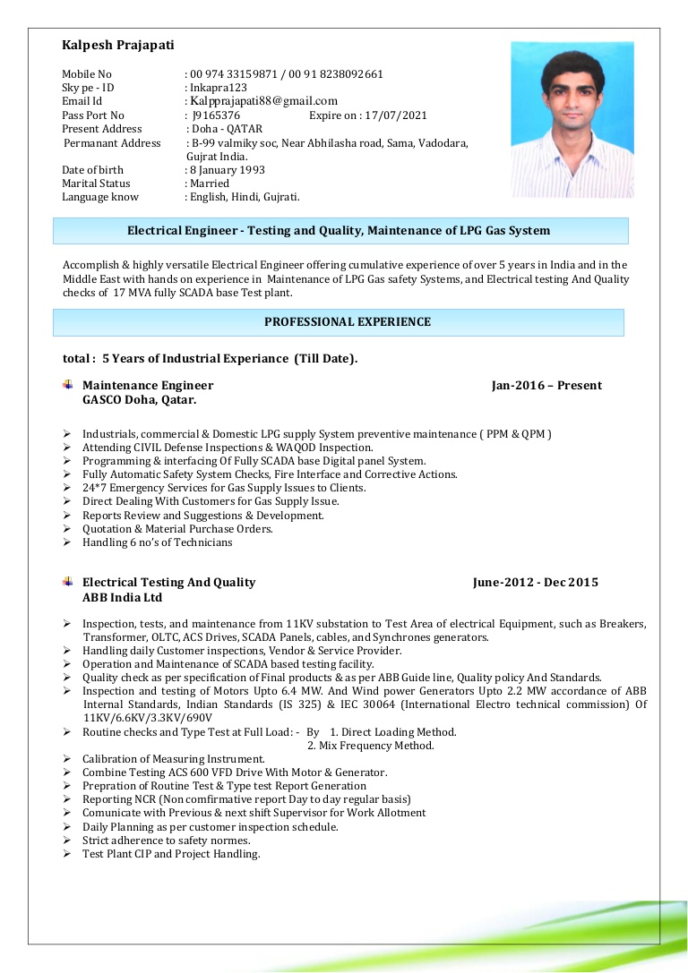 resume engineer electrical testing and quality lpg gas maintenance generator service Resume Generator Service Engineer Resume