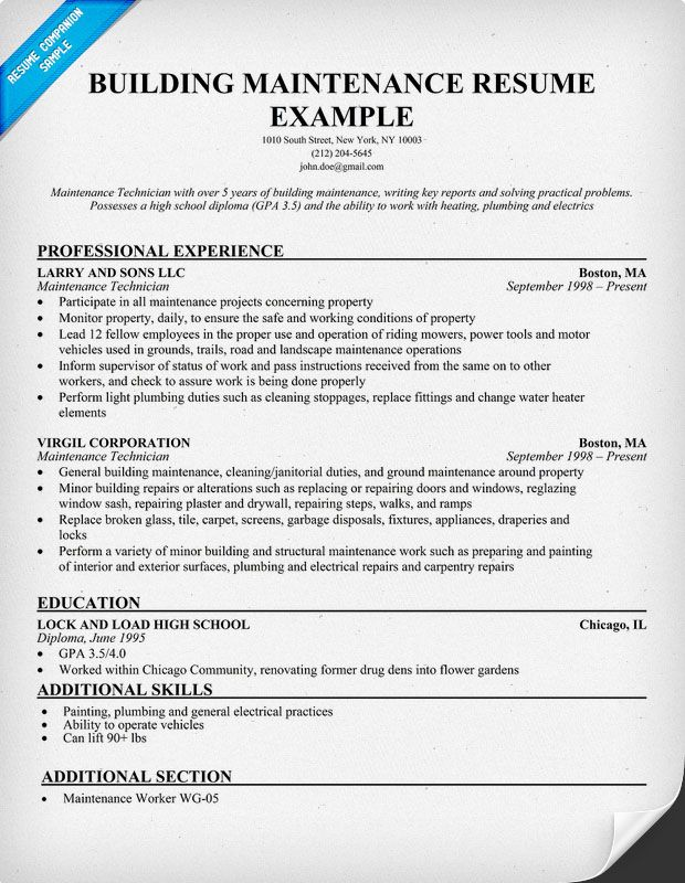 resume example for building maintenance resumesdesign accountant engineering examples Resume General Maintenance Resume Examples