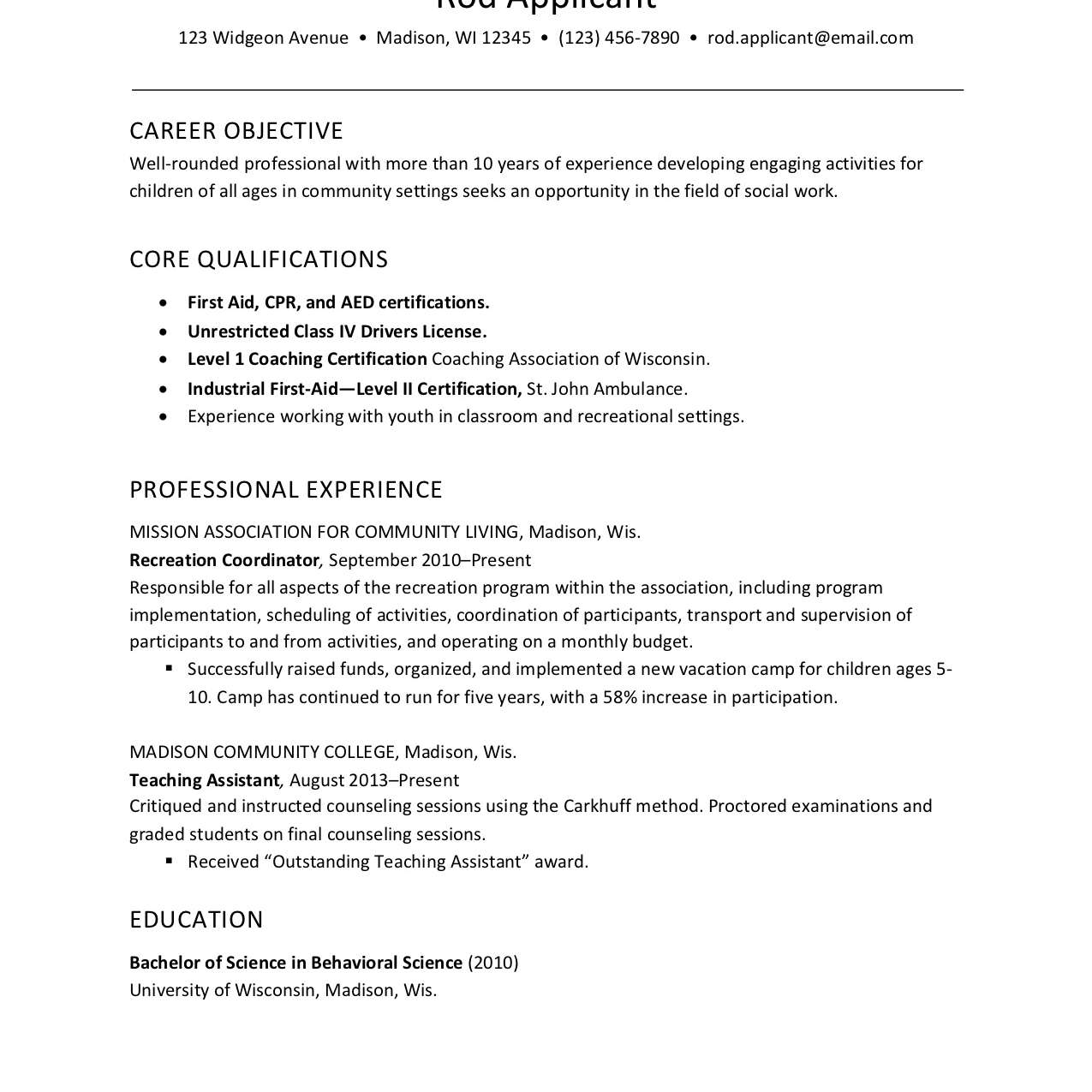 resume example for childcare social services worker recreation without word simple format Resume Recreation Worker Resume