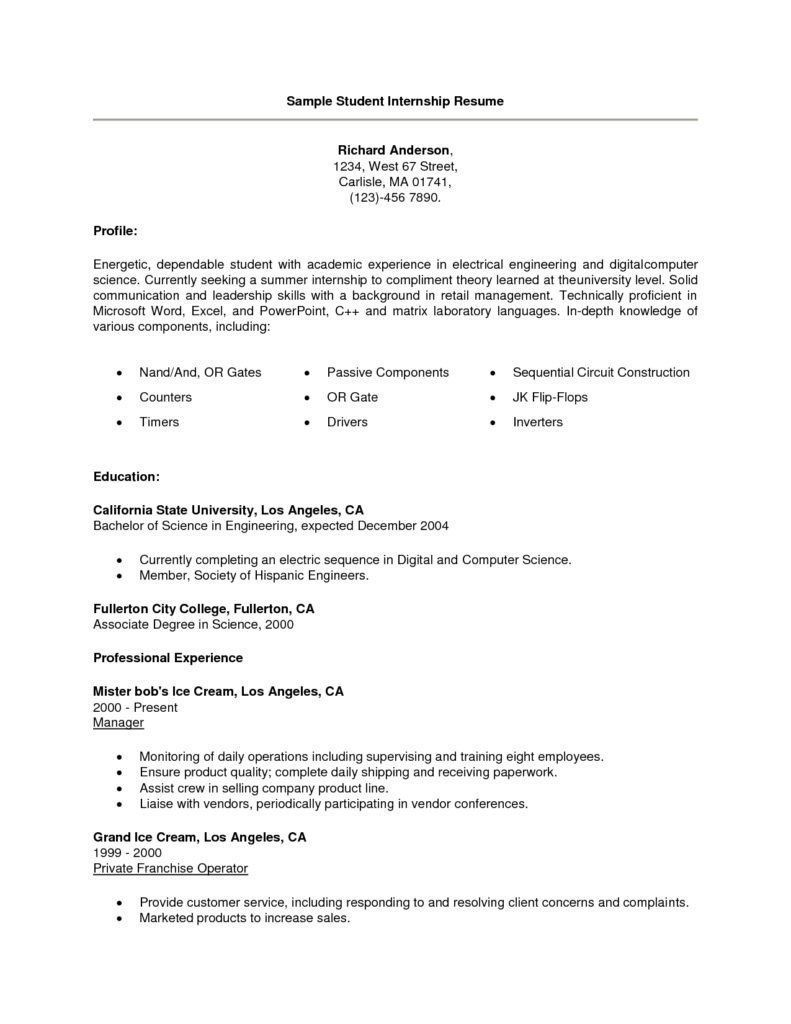 resume examples for students resumé cover student summer internship summary statement Resume Student Resume For Summer Internship