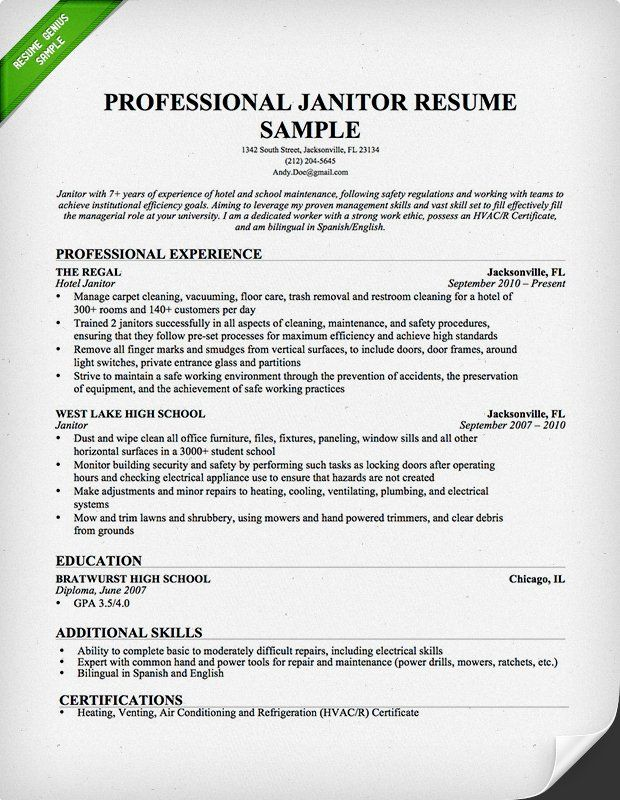 resume examples janitorial job sample skills for letter of recommendation steamfitter you Resume Janitorial Sample Resume Examples
