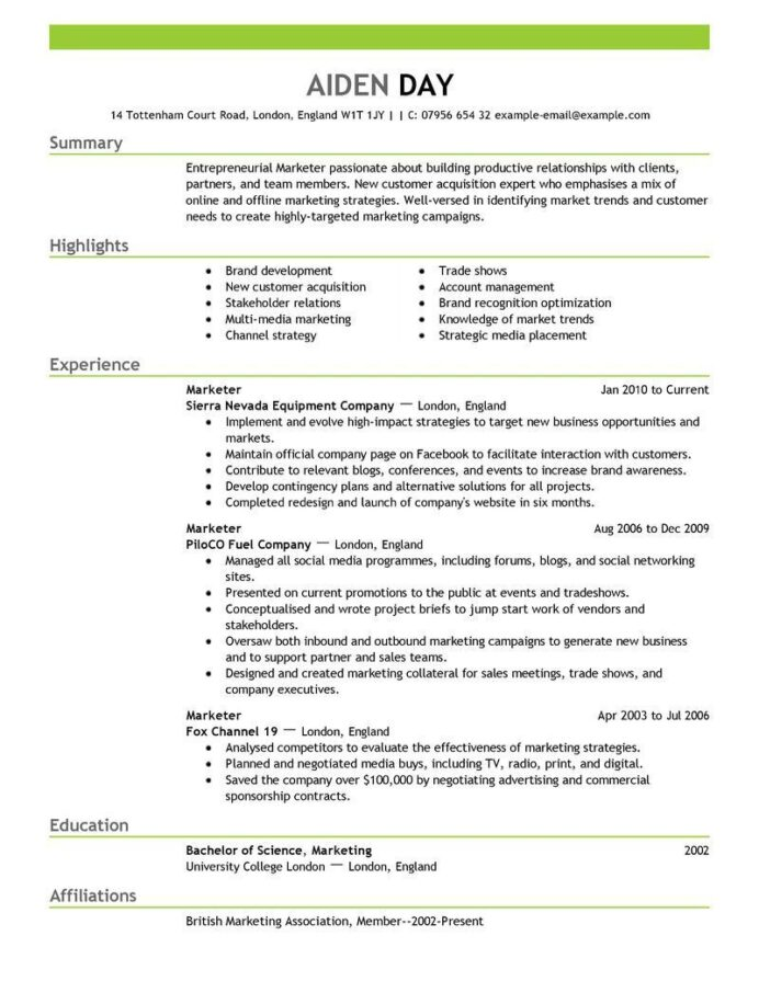 resume examples marketing objective best for job personal trainer template administrative Resume Best Resume For Marketing Job