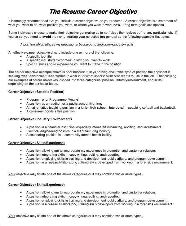 resume examples pdf free premium templates for one term job career objective example data Resume Resume For One Long Term Job
