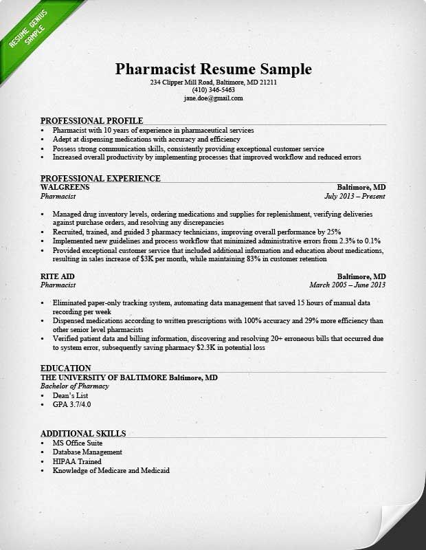 resume examples pharmacist cover letter for to make skills example templates microsoft Resume Pharmacist Resume Example