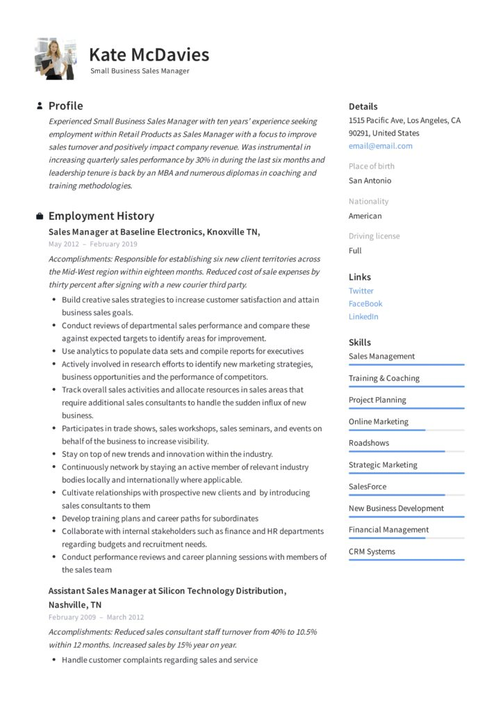 resume examples resumeviking business small manager example 724x1024 sample dietitian Resume Business Resume Examples 2019