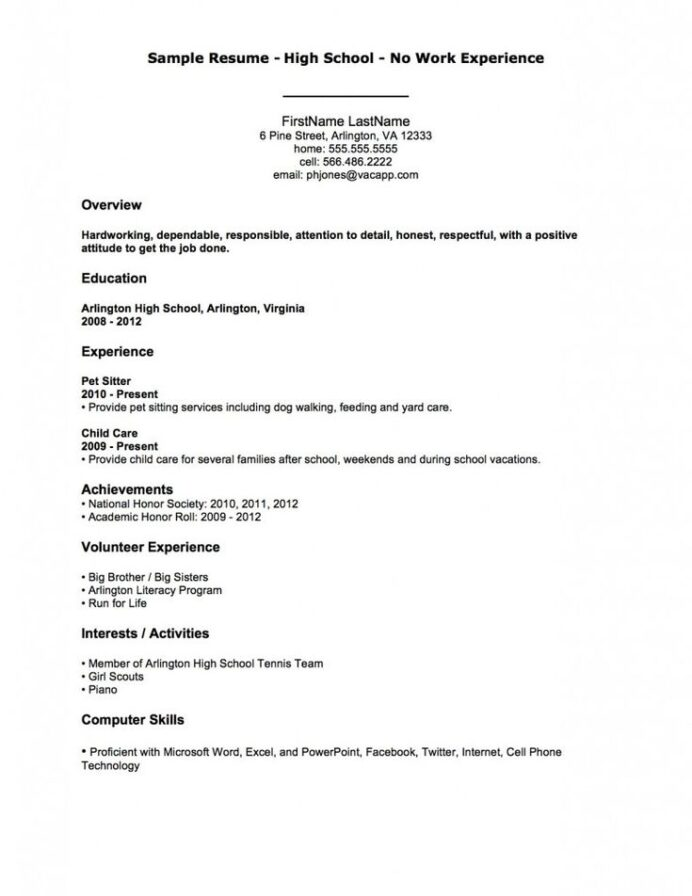 resume examples sample high school no work experience first job template builder for Resume Resume Builder For First Job