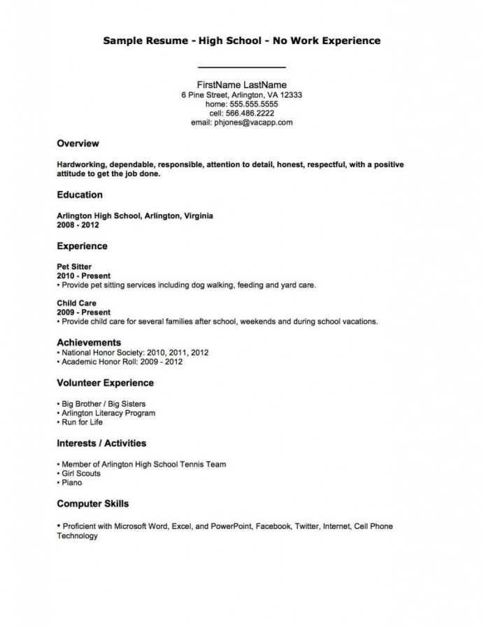 resume examples sample high school no work experience first job template builder for mlt Resume Resume Builder For First Job