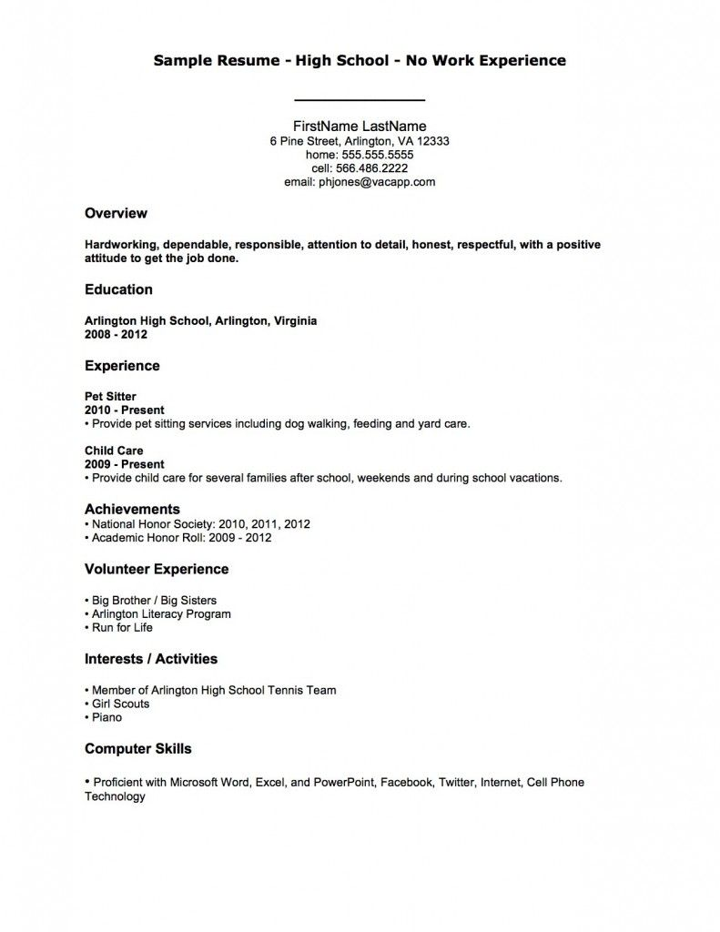 resume examples sample high school no work experience first job template one year Resume One Year Work Experience Resume