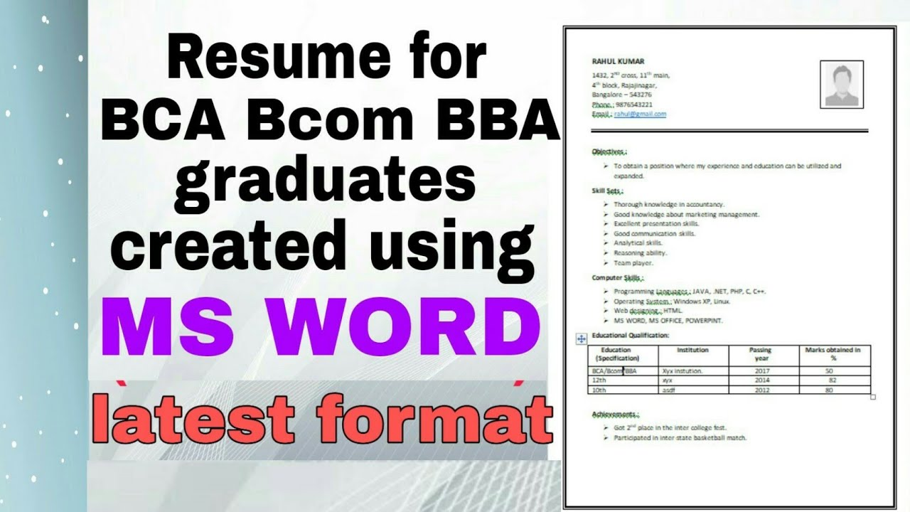 resume for bcom graduates latest format pattern created using ms word freshers of fresher Resume Resume Of A Bcom Fresher
