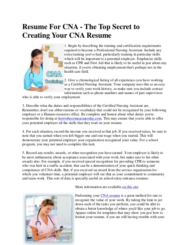 resume for cna the top secret to creating your nursing assistant duties personal Resume Nursing Assistant Duties For Resume