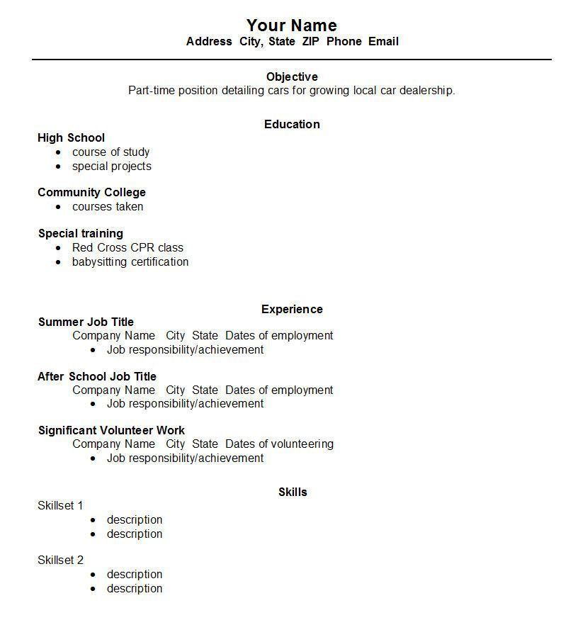 resume for high school student first job top template open resum samples graduate baruch Resume High School Graduate First Job Resume