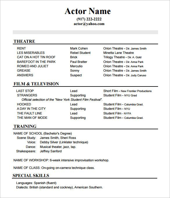 resume format actor acting template sample templates theatrical nuclear medicine examples Resume Theatrical Resume Template