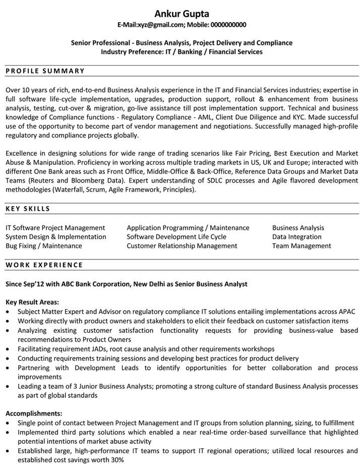 resume format business analyst resumeformat template sample for fresher college work Resume Resume Format For Business Analyst Fresher