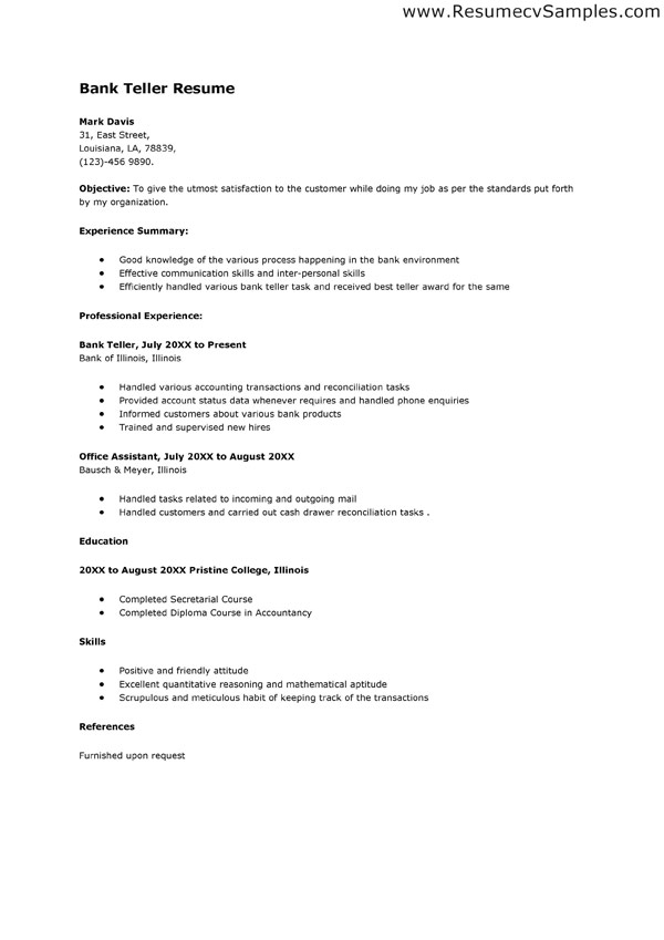 resume format for banking sector freshers bank goals and objectives free samples Resume Bank Resume Format For Freshers