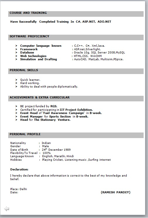resume format for fresher free job cv example basic freshers it in word doctor template Resume Basic Resume Format For Freshers