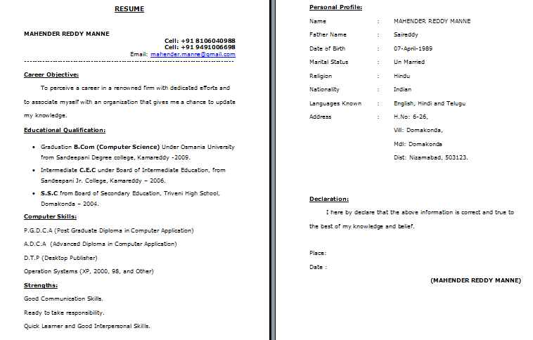 resume format for freshers bcom graduate mba of fresher software developer examples six Resume Resume Of A Bcom Fresher