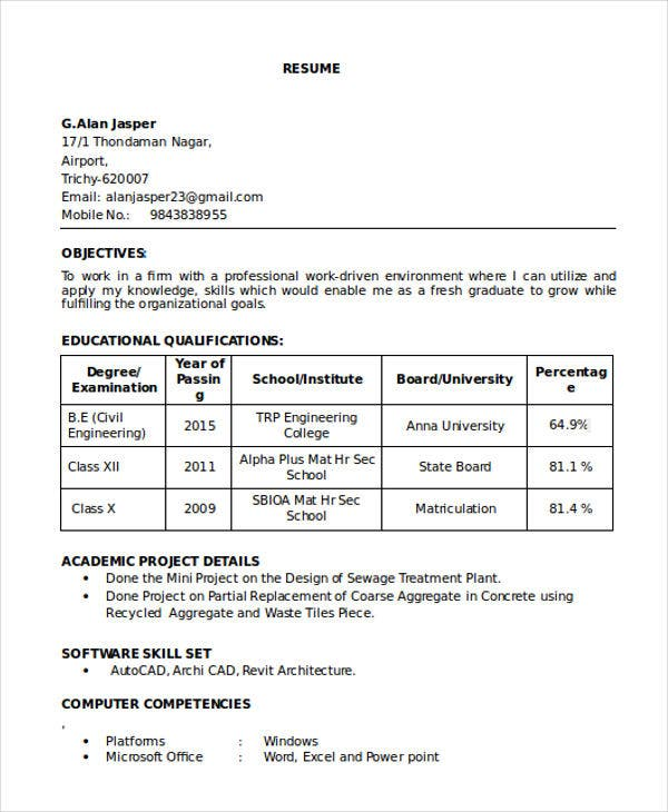 resume format for freshers civil engineers free with photo machine shop supervisor Resume Free Download Resume Format For Freshers With Photo