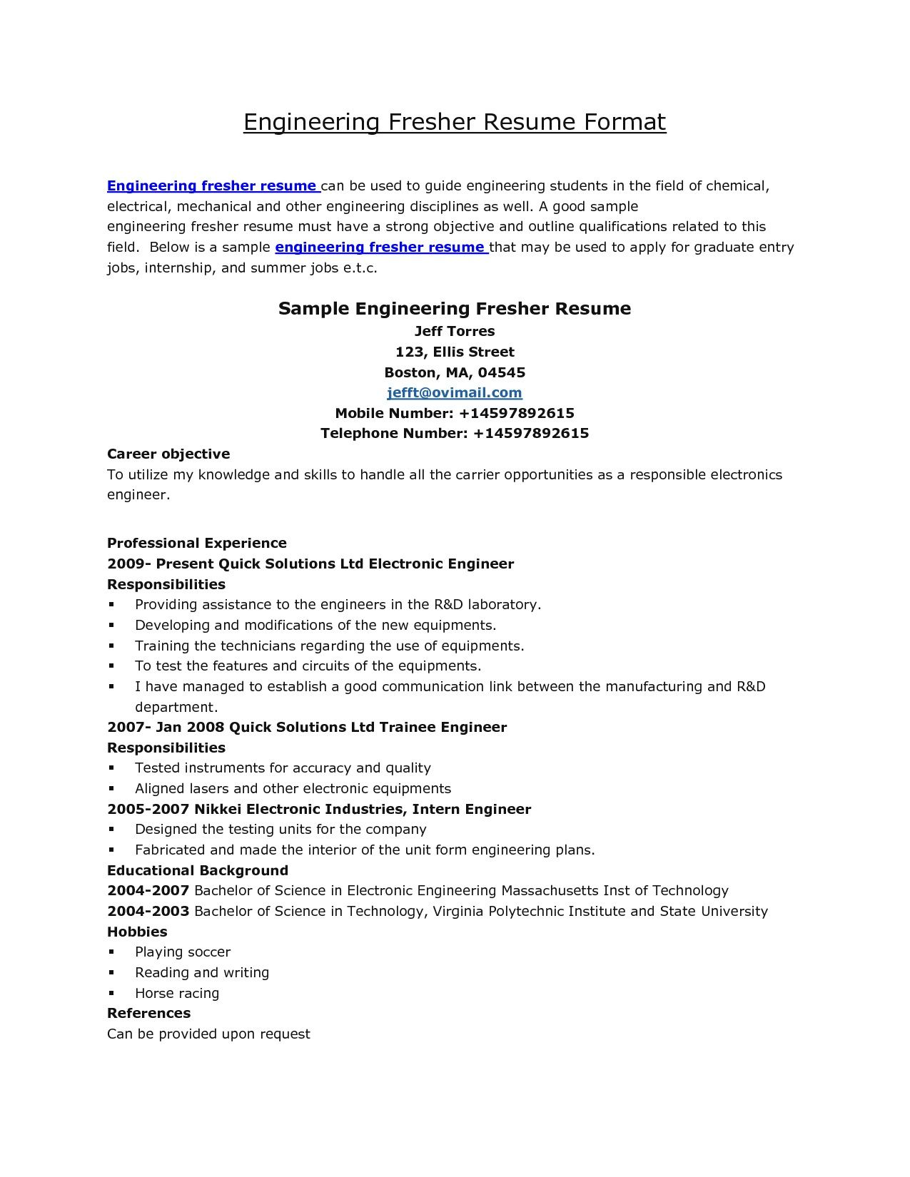 resume format for job fresher engineer best examples objective mechanical next reason Resume Objective For Resume For Fresher Mechanical Engineer