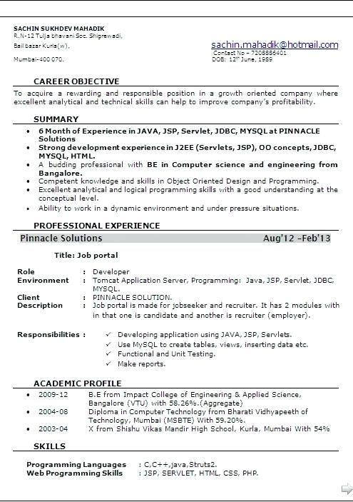 resume format for months experienced software engineer best sample new of years Resume Resume Of 2 Years Experience Software Engineer