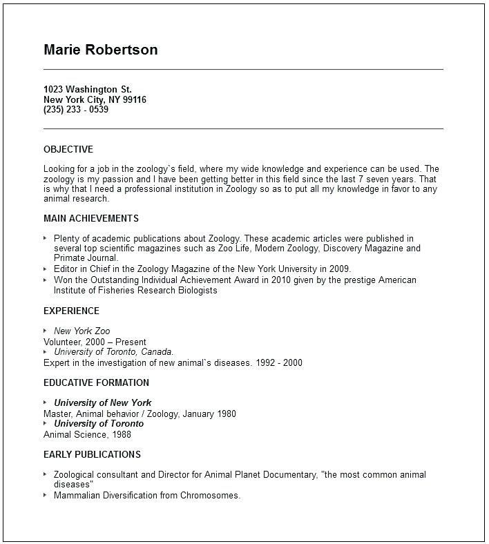 resume format for zoology lecturer good examples template teacher college grad skillsusa Resume Resume For Zoology Teacher