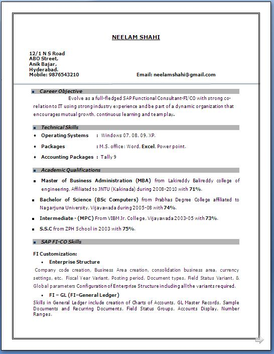 resume format mba year experience with years sap fico answering phones on filling out Resume Resume With 2 Years Experience