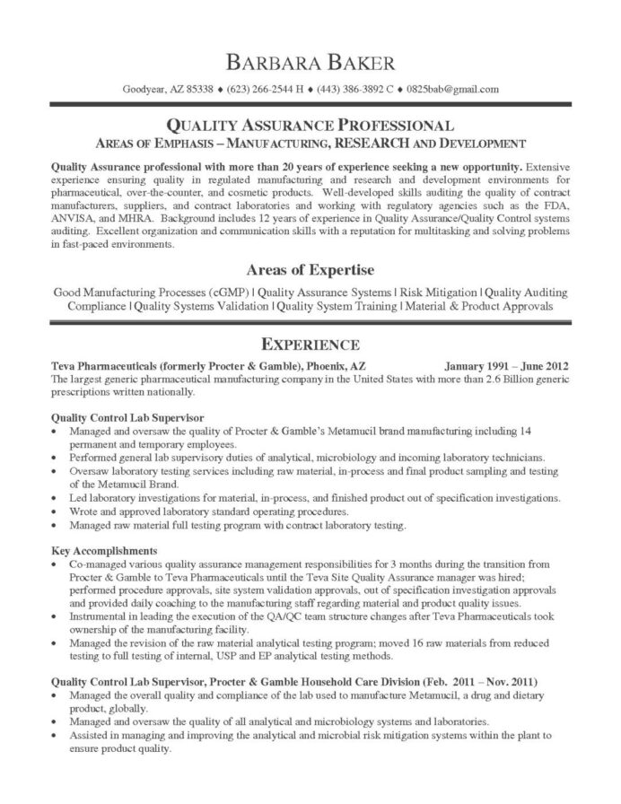 resume format quality assurance pharma templates manager examples sample driver Resume Quality Assurance Resume Sample