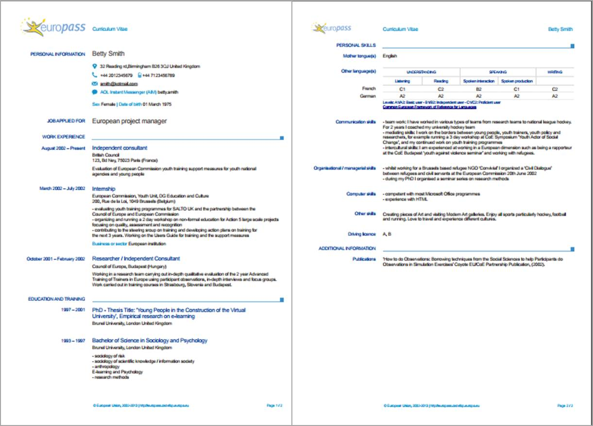 resume formats in various countries do they differ european format sample of europass cv Resume European Resume Format Sample