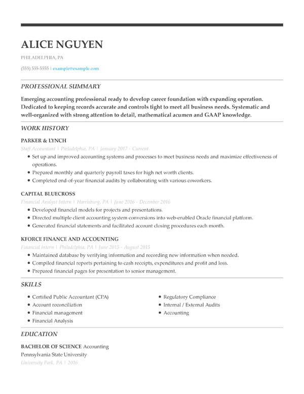 resume formats minute guide livecareer professional format chronological staff accountant Resume Professional Resume Format