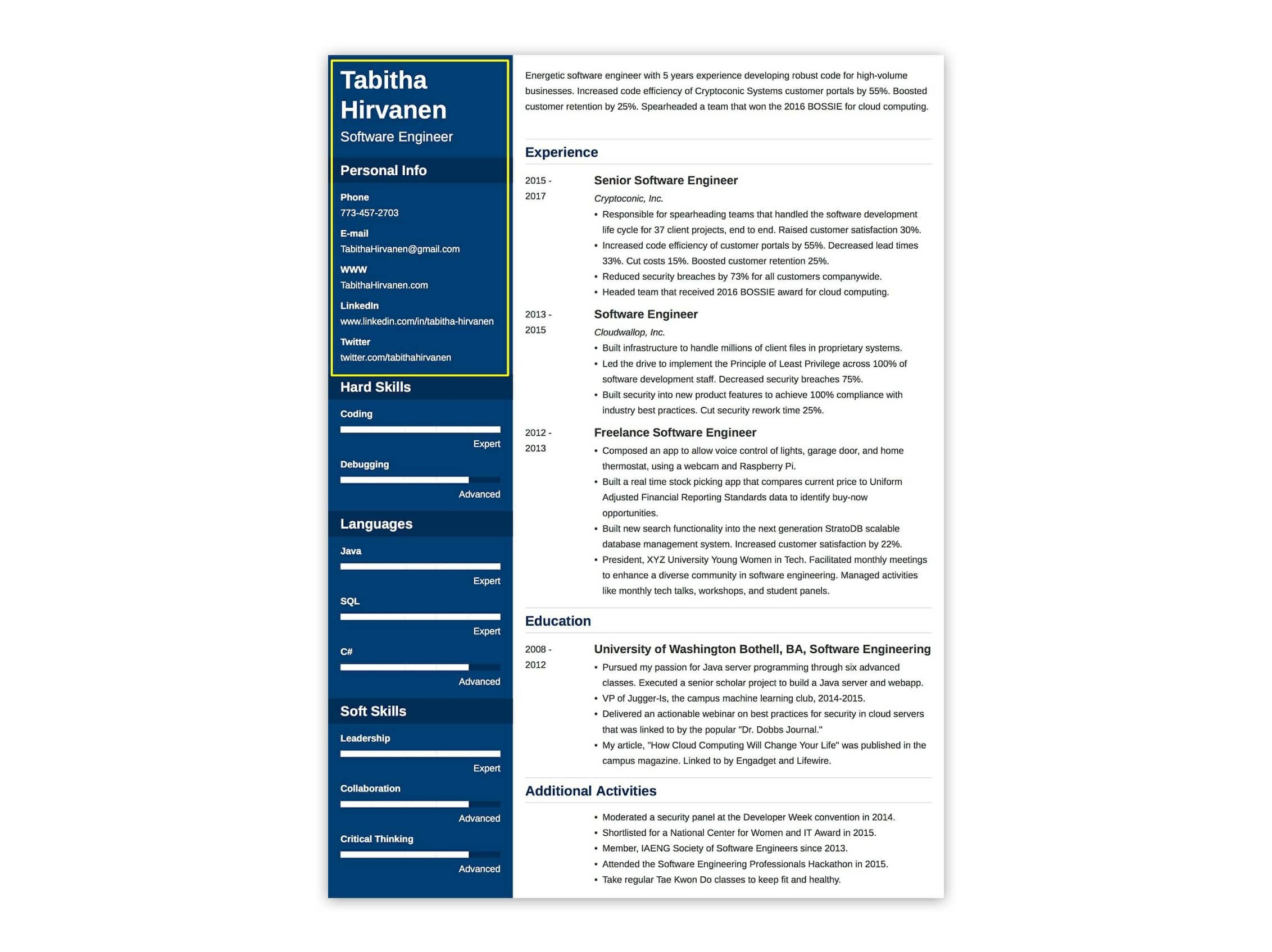 resume header examples professional headings good heading for highlights student Resume Good Heading For A Resume