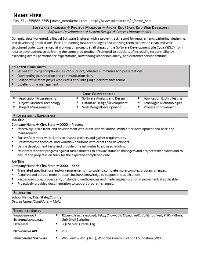 resume headers and sections you need examples zipjob good heading for software engineer Resume Good Heading For A Resume