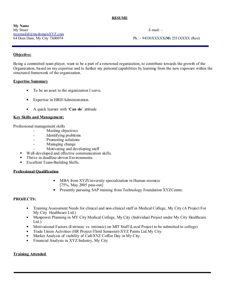 resume headline for fresher freshers examples hr executive model phpapp02 thumbnail Resume Headline Resume Freshers Examples
