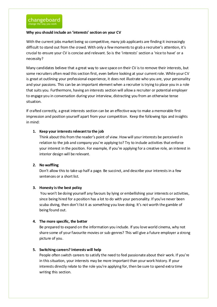 resume hobbies interest activities examples you should include an interests section on Resume Interest Activities Resume Examples