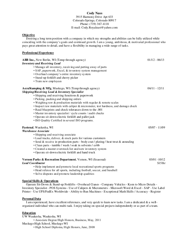 resume inventory one shipping and receiving associate entertainment format technical Resume Shipping And Receiving Associate Resume