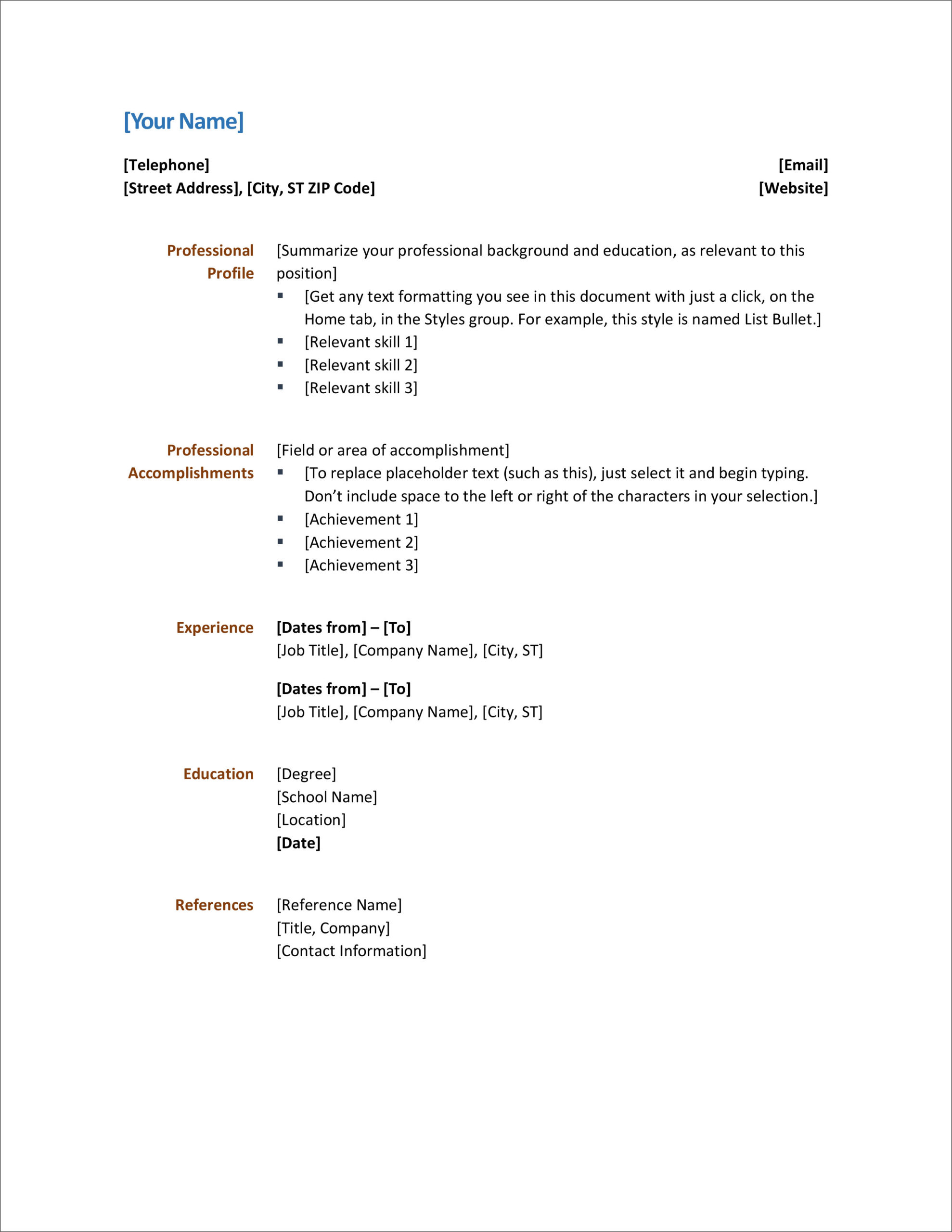 resume microsoft cv template form sample for new graduates another name foundation Resume Resume Contact Information Format