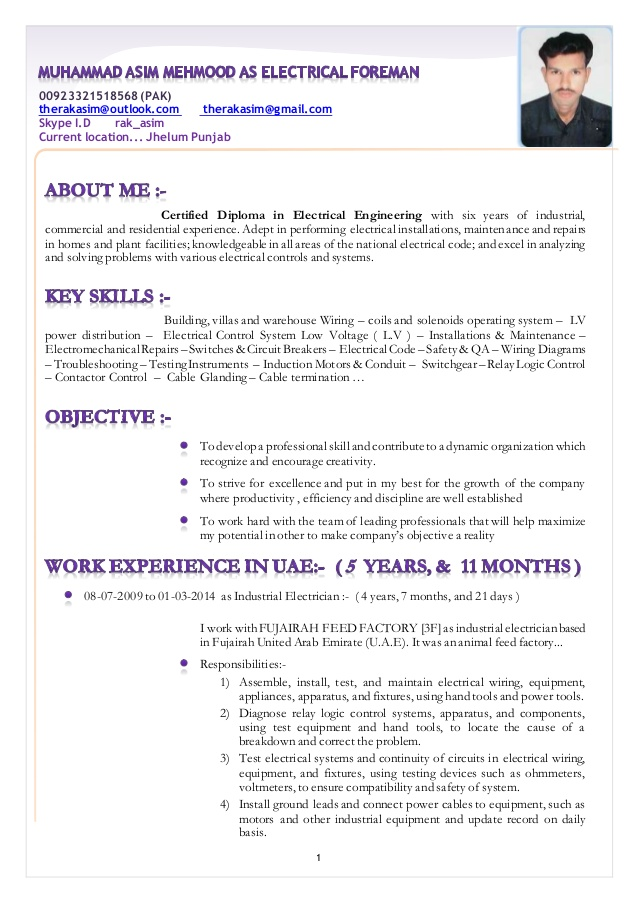 resume muhammad asim mehmood as electrical foreman electrician reply email for sending Resume Electrician Foreman Resume