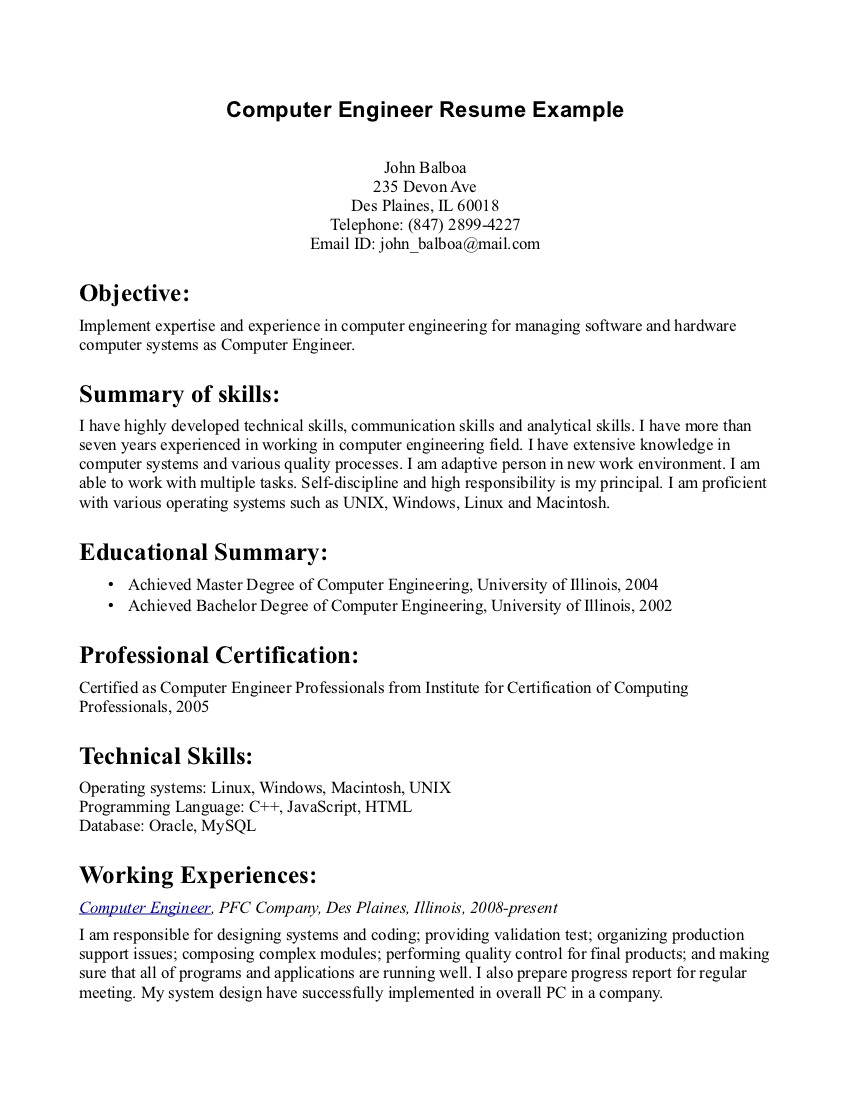 resume objective examples computer engineer tipss und vorlagen good objectives for Resume Good Resume Objectives For Software Engineers