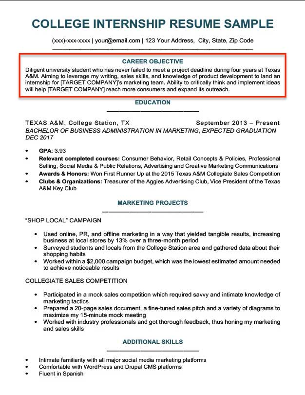 resume objective examples for students and professionals best internship college example Resume Best Objective For Resume Internship