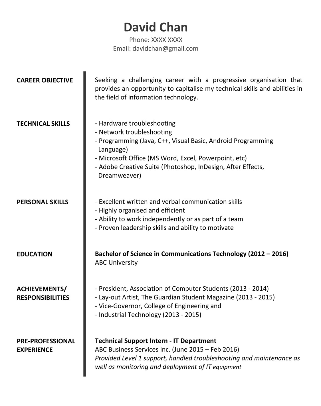 resume objective sample for fresh graduate computer science fg 1p outreach booklet Resume Sample Resume For Computer Science Fresh Graduate