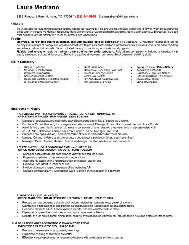 resume office operations manager hr operation exec assist bookkee bookkeeper caring for Resume Office Operations Manager Resume